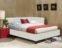 Rochester Corner Beds White Twin Upholster Bed STD-92081-WTW