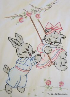 Vintage 1940s Crib Coverlet Embroidered Bunny & Kitten- Infant Baby Nursery
