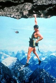 Sylvester Stallone hanging in Renny Harlin's Cliffhanger.