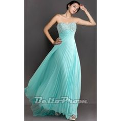 Blue Sweetheart Strapless Chiffon Prom Dress A4162  Price: $149.00  Buy now enjoy -10% Discount.