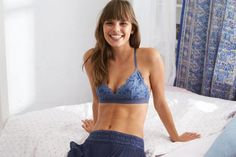 Aerie Shine Embroidery Triangle Bralette by  American Eagle Outfitters | Good vibes and a string bikini for our girls who like a little less coverage. Shop the Aerie Shine Embroidery Triangle Bralette and check out more at AE.com.