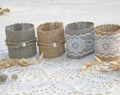 Items similar to Burlap Napkin Rings, Rustic Napkin Rings, Burlap & Lace Napkin Rings, Rose Napkin Rings, set of 6, on Etsy
