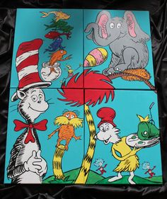 Dr Seuss Inspired Mural FREE SHIPPING by artcutie on Etsy, $210.00