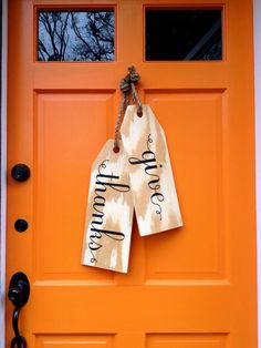 DIY Door Tags   HGTV >> http://www.hgtv.com/design-blog/design/door-decorations-that-arent-wreaths?soc=pinterest