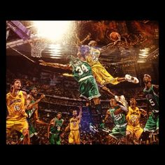 """""""My favorite painting at the L.A. team store at Staples #Lakers"""""""