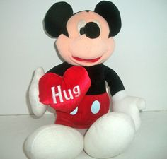 "Authentic Disney Mickey Mouse Plush Stuffed Animal Hug Heart 16"" tall EUC!"
