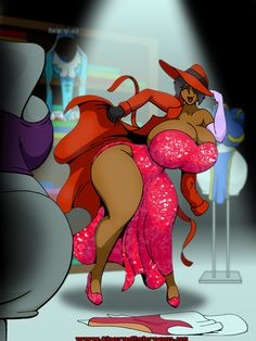 Commission for Versusme101, of their OC Khawala. Khawala's character is drawn from a number of inspirarions, and this picture plays homage to those ladies. (Main outfit: Carmen Sandiego and Jessica Rabbit. Clockwise from left: Gmeen's Violet, Capcom's Rainbow Mika, Capcom's Chun-li, Carmessi's Gala).