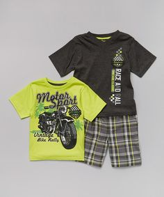 Another great find on #zulily! Neon 'Motor Sport' Tee Set - Infant, Toddler & Boys #zulilyfinds
