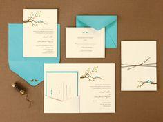 BRIDES® Love Birds Pocket Invitations