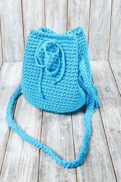 Handtasche - Torebka-plecak 2w1 w kolorze niebieskim - ein Designerstück von Mayalove- bei DaWanda Designer, Crochet Hats, Etsy, Handmade, Fashion, Handbags, Knitting Hats, Moda, Hand Made
