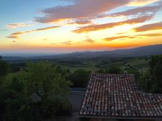 Watching the sunset during dinner at Le Mas des Vignes, Bedoin, Provence, France.