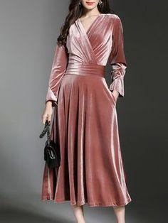A-line Elegant Wrap Velvet Midi Dress – elbisem. Trendy Dresses, Short Dresses, Fashion Dresses, Fashion Clothes, Dress Skirt, Wrap Dress, Dress Up, Winter Dresses, Evening Dresses