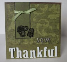 Sew Thankful Sewing Themed Handmade Christian Thank You Card With Scripture by stufffromtrees on Etsy