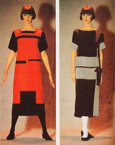 These Russian Constructivist dresses show similar geometries to the weavings. The red dress was designed by Alexandra Exter in 1922 and the black one was designed by Luibov Popova.