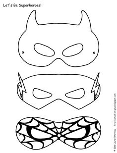 Superhero activities: FREE superhero masks to color.