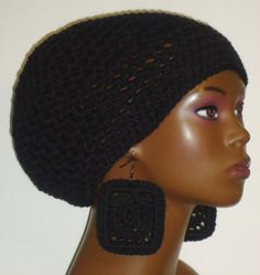 Black Crochet Beret/Small Tam and Earrings by Razonda Lee