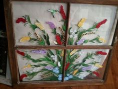 """My Bouquet Window....This is a 28""""x27"""" 4 pane vintage salvaged vintage window. This particular one is sold but I do these on commission...my clients let me know what colors they want incorporated in the bouquet of flowers and I work them in the grouping emphasizing the main color."""