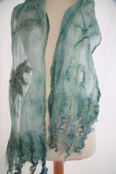 Merino and Silk Hand Dyed Nuno Felted by SuzannesHandmade on Etsy, $58.00