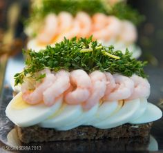 Norwegian open face sandwich also called smorrebrod