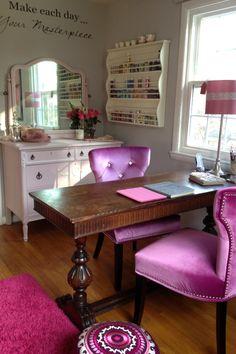 Elegant Pink Craft Room