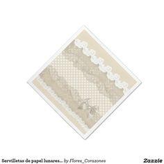 Servilletas de papel lunares y encaje para bodas