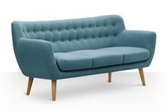 Swoon Editions Three-seater sofa, Mid-century style in Powder Blue - £579