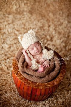 Kitty Tassel Crochet Hat Newborn Baby Photography Prop Ready Item by Babies Bugs And Bees