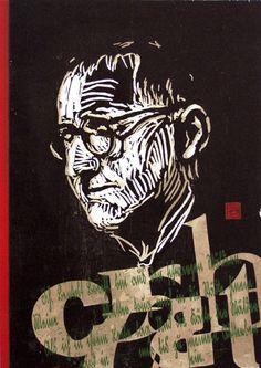 woodcut portrait of Bertolt Brecht (I) by German born printmaker Dirk Hagner