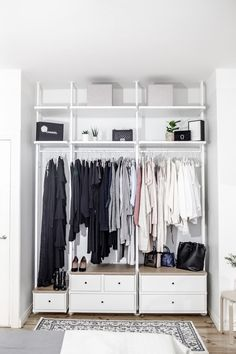 New Tiny Bedroom Storage Clothes Closet Organization Ideas Ikea Closet Design, Ikea Closet Hack, Ikea Closet Organizer, Closet Hacks, Closet Designs, Closet Storage, Closet Organization, Ikea Open Wardrobe, Attic Storage