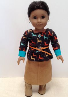 American Girl Doll Clothes - Dreamcatcher skirt and blouse for Kaya on Etsy, $25.00
