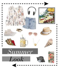 """""""My Summer Look"""" by glorithecat ❤ liked on Polyvore featuring Topshop, Rebecca Taylor, Rifle Paper Co, Master & Dynamic, Converse, Yosemite Home Décor, Gap, Ray-Ban and Dale Tiffany"""