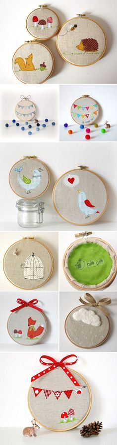 Love the birdcage and the cloud ones.   DIY Inspiration with this Pilli-Pilli-Embroidery. Gather Little Scraps of Fabric and Layer them like appliques. These are made on Embroidery (span) Rings.