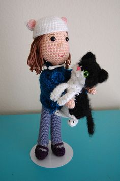 Custom amigurumi doll and cat by CraftyisCool1, via Flickr