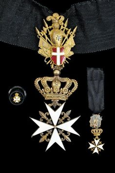 Cross of a Knight of Justice or Knight of Honour and Devotion, with miniature and rosette. #OrderofMalta #SMOM