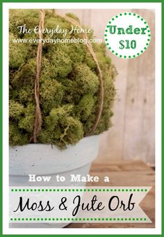 Embossed Bird Pot AND Moss/Jute Orb - I love the large moss orbs you see in design stores. It's a moss-covered ball. How easy and inexpensive could it possibly… Diy Craft Projects, Diy And Crafts, Craft Ideas, Decorating Ideas, Decor Ideas, Moss Decor, Michaels Craft, Styrofoam Ball, Diy Pillows