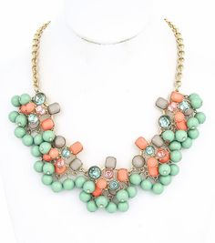 Mint, Coral, Milk Chocolate and Crystal Stone and Rhinestone Chunky Necklace, Gold Chunky Necklace, Flower Rhinestone Necklace on Etsy, $29.50