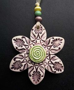 Double sided ceramic flower decoration £7.00
