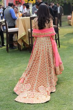 Long Veil Pink Gota Patti Embroidered Anarkali Set by Preeti S Kapoor
