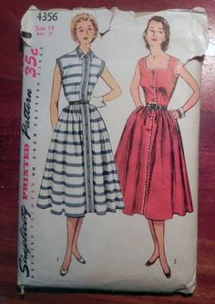 """1950s Button Front day dress Sleeveless Sundress sewing pattern Simplicity 4356 Size 14 Bust 32"""" by retroactivefuture on Etsy"""