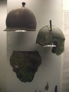 Montefortino helmet, attic helmet and three-disc armour from Italy. The British Museum.