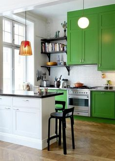 green cabinets and shelving idea for kitchen