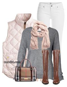 """Pink Quilted Vest"" by wulanizer ❤ liked on Polyvore featuring Paige Denim, J.Crew, H&M, Burberry and Kenneth Jay Lane"