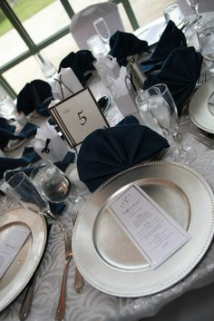 #Navy wedding table ... For a Reception Guide ... https://itunes.apple.com/us/app/the-gold-wedding-planner/id498112599?ls=1=8 ... plus how to organise your entire wedding ... The Gold Wedding Planner iPhone App ♥