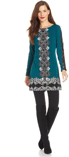 Women's Tunic Length Casual Shirt - Plaid Sleeves