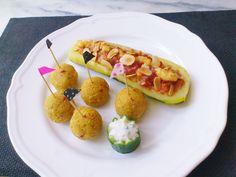Homemade veggie #spicy #coconutmilk couscous balls & stuffed zucchini! #vegan #organic #glutenfree #hummus #almond