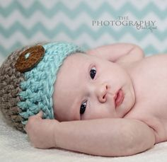 Baby Boy Hat - Baby Boy Hats - Crochet baby boy hats - Tan and Sea Glass Blue Button Baby Boy Beanie - Newborn Photography props. $17.95, via Etsy.