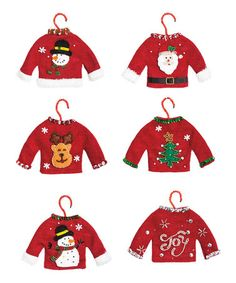 Tacky Christmas Sweater Fabric Ornament - Set of Six #zulily #zulilyfinds