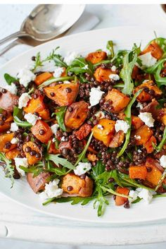 Sweet potato, lentil and feta salad This hearty salad is packed with roasted sweet potatoes, carrots and red onion, which pair wonderfully with Puy lentils and crumbled feta. Try this easy recipe for a healthy dinner or leisurely weekend lunch. Healthy Salad Recipes, Vegetarian Recipes, Cooking Recipes, Lunch Recipes, Puy Lentil Recipes, Cooking Tips, Meal Recipes, Recipies, Shrimp Recipes