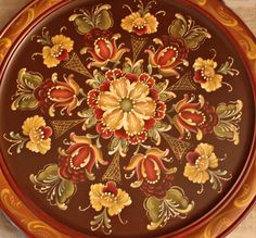 Autumn Inspired Rosemaled Plate by OneCreativeCouple on Etsy