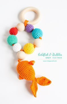 Bubbles and Goldfish Teether + rattle. Free crochet pattern + instructions   www.1dogwoof.com